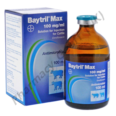 Baytril Max (Enrofloxacin/Benzyl Alcohol/Butyl Alcohol) - 100mg/20mg/30mg/mL (100mL)