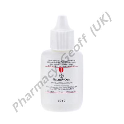 Baytril Otic (Enrofloxacin/Silver Sulfadiazine) - 5mg/10mg (15mL)